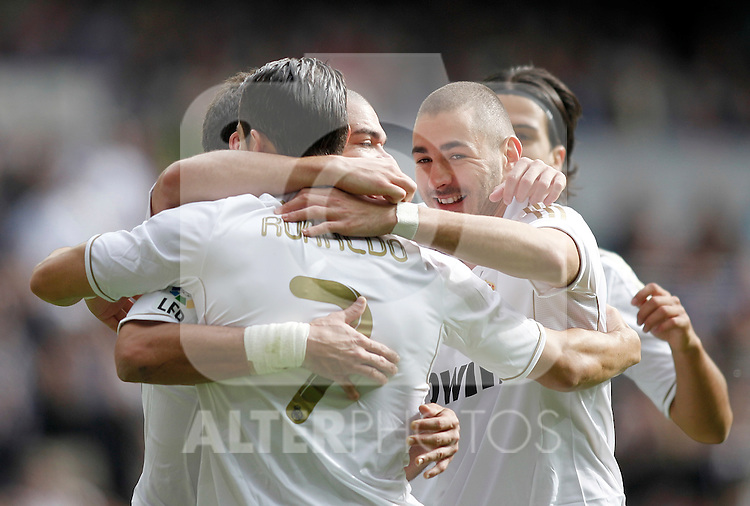 Real Madrid's Cristiano Ronaldo celebrates with Karim Benzema during La Liga Match. November 06, 2011. (ALTERPHOTOS/Alvaro Hernandez)