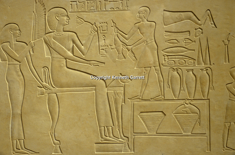 Detail of limestone sarcophagus of Ashait, wife of Pharaoh Nebhepetre Mentuhotep II, Queen receiving offerings, 11th dynasty, Deir Al-Bahari, Egypt, Middle Kingdom