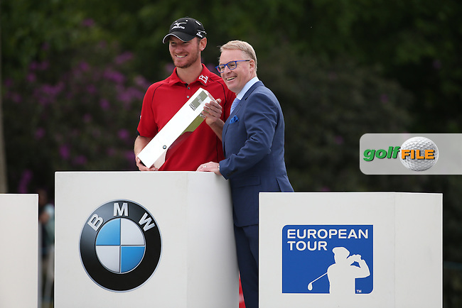 With European Tour CEO, Chris Wood (ENG) wins the Final Round of the 2016 BMW PGA Championship over the West Course at Wentworth, Virginia Water, London. 29/05/2016. Picture: Golffile | David Lloyd. <br /> <br /> All photo usage must display a mandatory copyright credit to &copy; Golffile | David Lloyd.