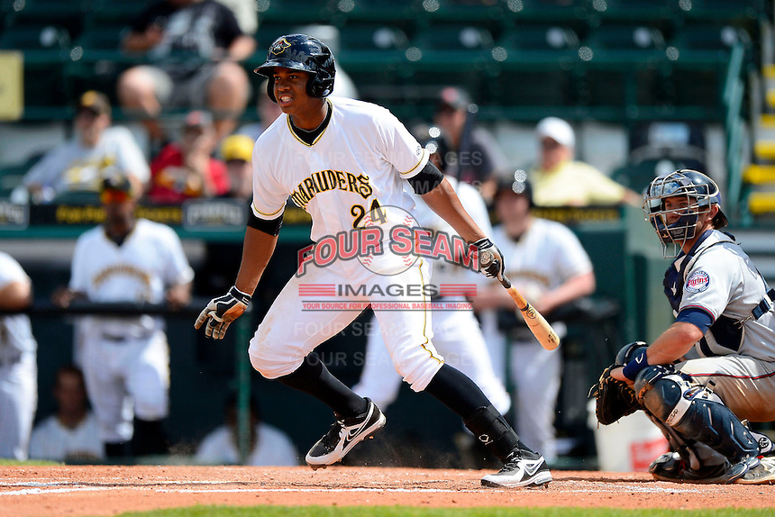 Bradenton Marauders designated hitter Willy Garcia #24 during a game against the Fort Myers Miracle at McKechnie Field on April 7, 2013 in Bradenton, Florida.  Fort Myers defeated Bradenton 9-8 in ten innings.  (Mike Janes/Four Seam Images)