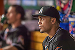 20 September 2013: Miami Marlins right fielder Giancarlo Stanton sits in the dugout during a game against the Washington Nationals at Nationals Park in Washington, DC. The Nationals defeated the Marlins 8-0 to take the second game of their 4-game series. Mandatory Credit: Ed Wolfstein Photo *** RAW (NEF) Image File Available ***