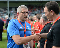 20180526 - Eupen , BELGIUM : Standard's headcoach Hamide Lamara pictured with Genk's head coach Patrick Slegers (left) during the final of Belgian cup 2018 , a soccer women game between KRC Genk Ladies and Standard Femina de Liege  , in the  Kehrweg stadion in Eupen , saturday 26 th May 2018 . PHOTO SPORTPIX.BE | DAVID CATRY