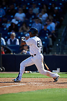 New York Yankees right fielder Isiah Gilliam (60) follows through on a swing during a Grapefruit League Spring Training game against the Toronto Blue Jays on February 25, 2019 at George M. Steinbrenner Field in Tampa, Florida.  Yankees defeated the Blue Jays 3-0.  (Mike Janes/Four Seam Images)