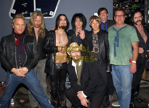 MATT SORUM, JERRY CANTRELL, DAVE NAVARRO, BILLY MORRISON, CHRIS CHANEY, DONOVAN LEITCH, STEVE JONES, LEIF GARRETT, LENNY KILMISTER - CAMP FREDDY.Backstage at The Camp Freddy South East Asia Tsunami Relief Fund Benefit held at The Key Club in West Hollywood, California .January 27th, 2005.half length, band, group, music.www.capitalpictures.com.sales@capitalpictures.com.Supplied By Capital PIctures