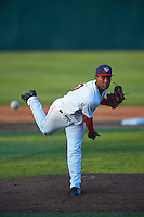 Auburn Doubledays starting pitcher Wilber Pena (19) delivers a pitch during a game against the Williamsport Crosscutters on June 25, 2016 at Falcon Park in Auburn, New York.  Auburn defeated Williamsport 5-4.  (Mike Janes/Four Seam Images)