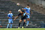13 September 2016: North Carolina's Mauricio Pineda (2) and ETSU's Fletcher Ekern (24). The University of North Carolina Tar Heels hosted the East Tennessee State University Buccaneers at Fetzer Field in Chapel Hill, North Carolina in a 2016 NCAA Division I Men's Soccer match. ETSU won the game 1-0 in sudden death overtime.