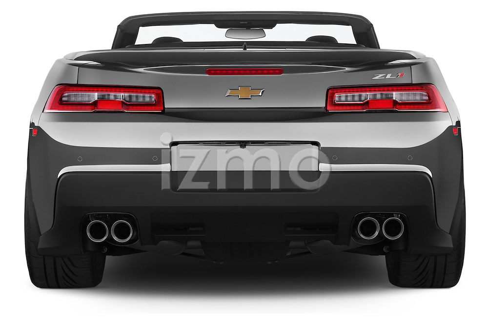 Straight rear view of a 2014 Chevrolet Camaro ZL1 2 Door Convertible Rear View  stock images