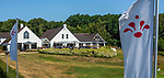 GROESBEEK  - clubhuis  met logo op de vlaggen. ,  Golf op Rijk van Nijmegen.   COPYRIGHT KOEN SUYK