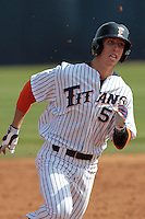 Michael Lorenzen #55 of the Cal State Fullerton Titans runs the bases against the TCU Horned Frogs at Goodwin Field on February 26, 2012 in Fullerton,California. Fullerton defeated TCU 11-10.(Larry Goren/Four Seam Images)