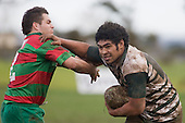 F. Lee tries to push past L. Forsman. Counties Manukau Premier 1 McNamara Cup round 2 rugby game between Manurewa & Waiuku played at Mountfort Park, Manurewa on the 30th of June 2007. Manurewa led 19 - 3 at halftime and went on to win 31 - 3.