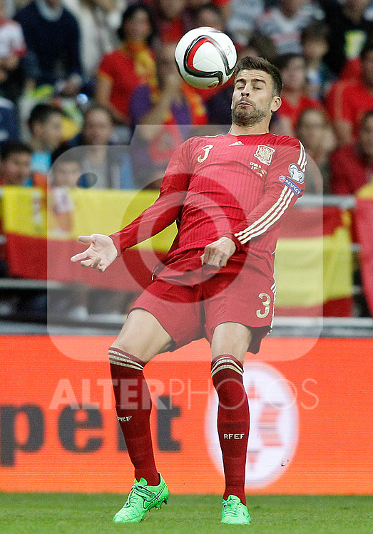 Spain's Gerard Pique during 15th UEFA European Championship Qualifying Round match. September 5,2015.(ALTERPHOTOS/Acero)