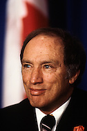 Ottawa, Canada, February 1980. Canadian Prime Minister Pierre Trudeau campaigns ahead of the legislative elctions on May 22.  Joseph Philippe Pierre Yves Elliott Trudeau, (October 18, 1919 - September 28, 2000), was the 15th Prime Minister of Canada from April 20, 1968 to June 4, 1979, and again from March 3, 1980 to June 30, 1984.