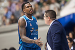 San Pablo Burgos Deon Thompson and coach Diego Epifanio during Liga Endesa match between San Pablo Burgos and Monbus Obradoiro at Coliseum Burgos in Burgos, Spain. April 01, 2018. (ALTERPHOTOS/Borja B.Hojas)