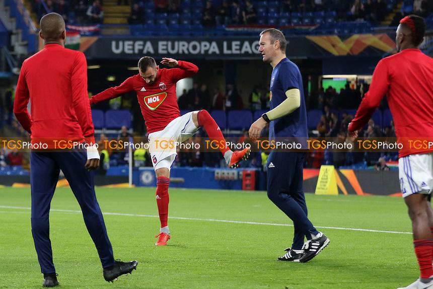 Mol Vidi players warm up ahead of kick-off during Chelsea vs MOL Vidi, UEFA Europa League Football at Stamford Bridge on 4th October 2018