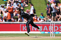 New Zealand's Trent Boult bowling. New Zealand Blackcaps v England. One Day International Cricket. Seddon Park, Hamilton, New Zealand on Sunday 25 February 2018.<br /> <br /> Copyright photo: &copy; Bruce Lim / www.photosport.nz