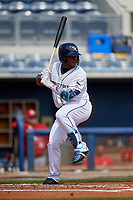 Charlotte Stone Crabs Moises Gomez (21) during a Florida State League game against the Palm Beach Cardinals on April 14, 2019 at Charlotte Sports Park in Port Charlotte, Florida.  Palm Beach defeated Charlotte 5-3.  (Mike Janes/Four Seam Images)