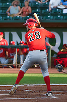 Sam Koenig (28) of the Orem Owlz at bat against the Ogden Raptors in Pioneer League action at Lindquist Field on August 28, 2015 in Ogden, Utah. Ogden defeated Orem 14-6. (Stephen Smith/Four Seam Images)