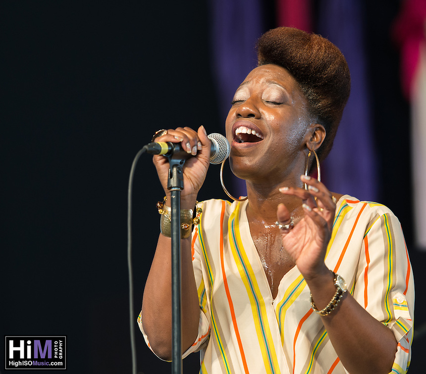 Erica Falls performs at the 2014 Jazz and Heritage Festival in New Orleans, LA.
