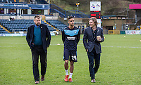 Paris Cowan-Hall of Wycombe Wanderers takes a walk with Wycombe Wanderers Manager Gareth Ainsworth & Wycombe Wanderers Chairman Andrew Howard during the Sky Bet League 2 match between Wycombe Wanderers and Leyton Orient at Adams Park, High Wycombe, England on 23 January 2016. Photo by Massimo Martino / PRiME Media Images.