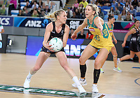 04.09.2016 Silver Ferns Laura Langman and Australia's Clare McMeniman in action during the Netball Quad Series match between the Silver Ferns and Australia played at Margaret Court Arena in Melbourne. Mandatory Photo Credit ©Michael Bradley.