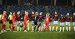 Manchester City Women shake hands with Brondby IF before the Champions League last 16 tie, first leg between Manchester City Women and Brondby IF at the Academy Stadium. <br /> <br /> Photo credit should read: Lynne Cameron/Sportimage