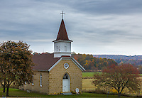 Sauk County, WI<br /> Our Lady of Loretto country church with the distant fall colored Baraboo Hills
