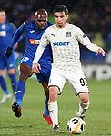 Getafe CF's Allan Nyom (l) and FC Krasnodar's Magomed Suleymanov during UEFA Europa League match. December 12,2019. (ALTERPHOTOS/Acero)