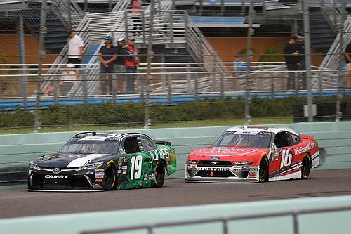 #19: Brandon Jones, Joe Gibbs Racing, Toyota Camry Juniper and #16: Ryan Reed, Roush Fenway Racing, Ford Mustang Drive Down A1C Lilly Diabetes