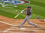 1 April 2013: Miami Marlins first baseman Casey Kotchman in action during the Opening Day Game against the Washington Nationals at Nationals Park in Washington, DC. The Nationals shut out the Marlins 2-0 to launch the 2013 season. Mandatory Credit: Ed Wolfstein Photo *** RAW (NEF) Image File Available ***