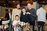 Tralee Warriors  celebration night after winning Champions Trophy at Meadowlands Hotel on Friday. Pictured Nacho Villabona and Jaevair Villabona with Trae Pemberton and Kieran Donaghy