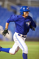 GCL Blue Jays left fielder Norberto Obeso (28) runs to first during the second game of a doubleheader against the GCL Phillies on August 15, 2016 at Florida Auto Exchange Stadium in Dunedin, Florida.  GCL Phillies defeated the GCL Blue Jays 4-0.  (Mike Janes/Four Seam Images)