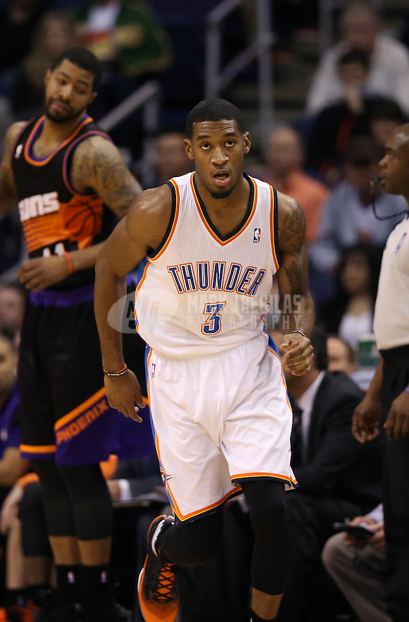 Feb. 10, 2013; Phoenix, AZ, USA: Oklahoma City Thunder small forward Perry Jones against the Phoenix Suns at the US Airways Center. Mandatory Credit: Mark J. Rebilas-