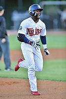 Elizabethton Twins center fielder Akil Baddoo (31) runs to third base during game one of the Appalachian League Championship Series against the Pulaski Yankees at Joe O'Brien Field on September 7, 2017 in Elizabethton, Tennessee. The Twins defeated the Yankees 12-1. (Tony Farlow/Four Seam Images)