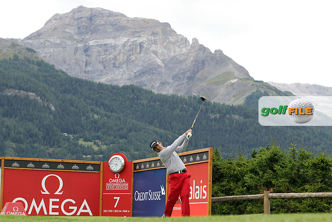 Felipe Aguilar (CHI) on the 7th on Day 1 of the Omega European Masters 2012, Golf Club Crans-Sur-Sierre, Crans Montana, Switzerland, 30/8/12...(Photo Jenny Matthews/www.golffile.ie)