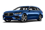 Stock pictures of low aggressive front three quarter view of a 2018 Volvo V90 R-Design AWD T6  5 Door Wagon