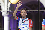 Thibaut Pinot (FRA) Groupama-FDJ at the team presentation held on the Grand-Place before the 2019 Tour de France starting in Brussels, Belgium. 4th July 2019<br /> Picture: Colin Flockton | Cyclefile<br /> All photos usage must carry mandatory copyright credit (© Cyclefile | Colin Flockton)