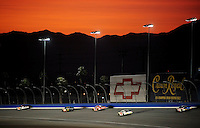 Aug 30, 2008; Fontana, CA, USA; NASCAR Nationwide Series drivers race down the backstretch during the Camping World 300 at Auto Club Speedway. Mandatory Credit: Mark J. Rebilas-