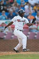 Winston-Salem second baseman Brandon Johnson (8) follows through on his swing versus Wilmington at Ernie Shore Field in Winston-Salem, NC, Saturday, June 9, 2007.