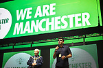 © Joel Goodman - 07973 332324 . No Editorial syndictaion permitted . 09/09/2017. Manchester , UK . Greater Manchester Metro Mayor ANDY BURNHAM speaks at the event . We Are Manchester reopening charity concert at the Manchester Arena with performances by Manchester artists including  Noel Gallagher , Courteeners , Blossoms and the poet Tony Walsh . The Arena has been closed since 22nd May 2017 , after Salman Abedi's terrorist attack at an Ariana Grande concert killed 22 and injured 250 . Money raised will go towards the victims of the bombing . Photo credit : Joel Goodman
