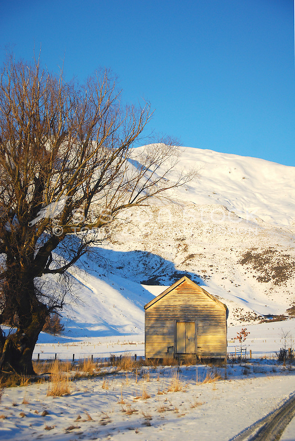Old farm shed, snow covered Crown Range Road, Queenstown, New Zealand