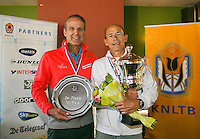 August 24, 2014, Netherlands, Amstelveen, De Kegel, National Veterans Championships, Prizegiving, Winner mens single 60+ Jan Sie and runner up Jef Stevens (L)<br /> Photo: Tennisimages/Henk Koster