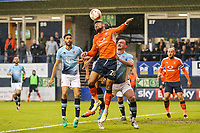 Isaac Vassell of Luton Town (20) wins the header during the Sky Bet League 2 Play Off Semi Final 2 leg match between Luton Town and Blackpool at Kenilworth Road, Luton, England on 18 May 2017. Photo by David Horn.