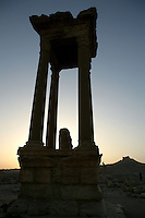 Podium, Tetrapylon at twilight, reconstructed after 1963 by Syrian Directorate of Antiquities, Palmyra, Syria Picture by Manuel Cohen