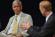 Washington, DC - June 5, 2013: Julian Bond listens as Jerry Mitchell shares his experiences in the civil rights movement during a panel discussion on the 50th anniversary of assassination of civil rights activist Medgar Evers at the Newseum, June 5, 2013.  (Photo by Don Baxter/Media Images International)