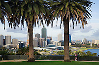 View across Kings Park to the Perth skyline.  Perth, Western Australia, AUSTRALIA.