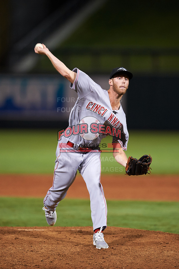 Peoria Javelinas pitcher Evan Mitchell (16), of the Cincinnati Reds organization, during a game against the Salt River Rafters on October 11, 2016 at Salt River Fields at Talking Stick in Scottsdale, Arizona.  The game ended in a 7-7 tie after eleven innings.  (Mike Janes/Four Seam Images)