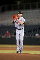 Salt River Rafters relief pitcher Griffin Jax (22), of the Minnesota Twins organization, gets ready to deliver a pitch during an Arizona Fall League game against the Scottsdale Scorpions at Scottsdale Stadium on October 12, 2018 in Scottsdale, Arizona. Scottsdale defeated Salt River 6-2. (Zachary Lucy/Four Seam Images)