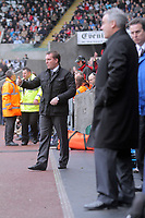 ATTENTION SPORTS PICTURE DESK<br /> Pictured L-R: Brendan Rodgers, manager for Swansea and dave Jones, manager for Cardiff.<br /> Re: npower Championship Swansea City FC v Cardiff City FC at the Liberty Stadium, south Wales. Sunday 06 February 2011