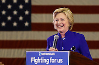 NEWARK, NJ - JUNE 01 : U.S. Democratic presidential candidate Hillary Clinton speaks during a rally on June 01, 2016 in Newark, New Jersey. Hillary Clinton only needs 73 delegates to clinch the party's nomination. on June 7 New Jersey will hold its primary elections, a state that will be awarding 142 total Democratic delegates. Photo by VIEWpress