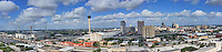 This is a San Antonio skyline panorama of the City of San Antonio from the east side with the Alamo Dome, the Tower of Americas, Grand Hyatt, Marriott Center, Convention Center, Tower Life, Weston, and other iconic city high-rise in downtown.